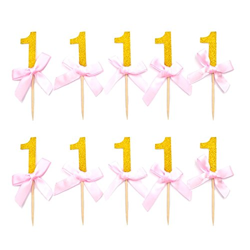HZOnline Number One Cupcake Toppers Glitter with Pink Ribbon Bow 1st One Birthday Decorations Kids' Gathering DIY Home Theme Party Food Fruit Cake Picks for Baby Shower Decor (24PCS Gold)