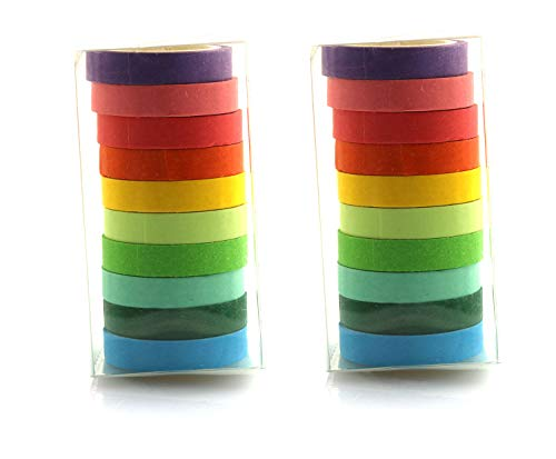 RuiLing 20 Rolls Multi-Color Washi Masking Tape School Supplies Stationery Scrapbooking DIY Decorative Adhesive Paper Tapes Colorful Label Sticker 0.7cm x 5m