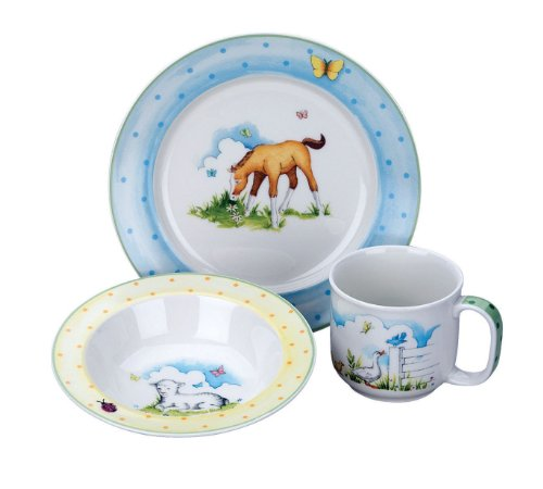 Williamsburg by Reed & Barton Farmyard Friends Ceramic 3 Piece Dinner Set