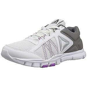 Reebok Women's Yourflex Trainette 9.0 MT Track Shoe, White/Alloy/Vicious Violet, 7.5 M US