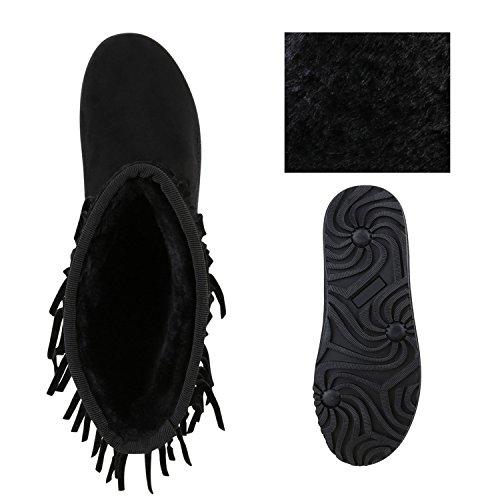 b9e47b79612b54 ... Stiefelparadies Damen Schlupfstiefel Winter Schuhe Kunstfell Warm  Gefütterte Stiefel Glitzer Boots Animal Print Profilsohle Stiefeletten  Flandell ...