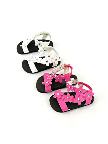 2 pack of Flower Power Sandals: Pink and White | Fits 14 Wellie Wisher Dolls | 14 Inch Doll Accessories