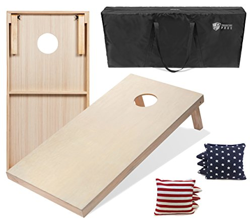 Tailgating Pros 4'x2' Cornhole Boards w/Carrying Case & Set of 8 Cornhole Bags (You Pick Color) 25 Bag Colors! (Stars/Stripes, 4'x2' Boards) ()