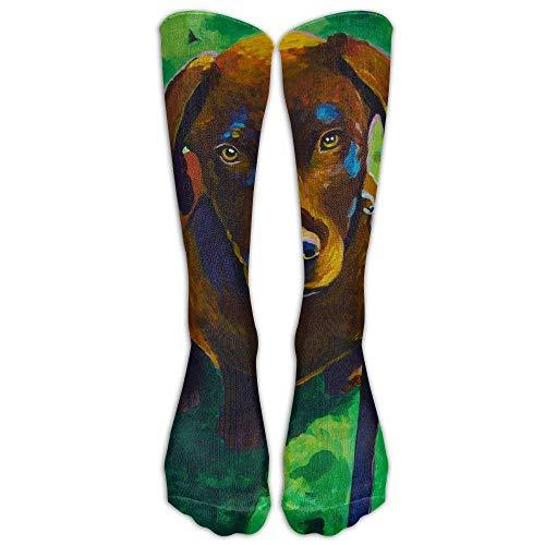 Chocolate Labrador Retriever Puppy Dog Painting Compression Socks