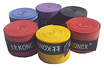 Konex Multipurpose Badminton/Tennis/Squash Racket Super Tacky Touch Grip  Pack of 5