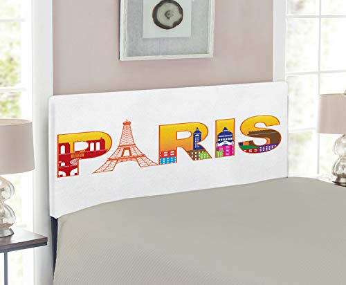 Lunarable Paris Headboard for Twin Size Bed, Paris France Skyline with Cultural Icons Historical City Features Art Illustration, Upholstered Decorative Metal Headboard with Memory Foam, Multicolor