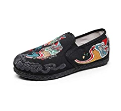 Foot Gear KKTOOL Cloth Shoes Men Round Head Flat Heel Embroidery Flower Mens Shoes Shallow Mouth Elastic Belt Shoes KKTOOLlg
