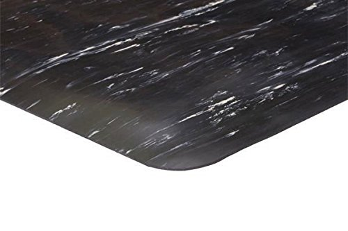 Marble Anti-Fatigue Mat (Smooth Hard Top Surface), 4' x 60', Black with White, 1/2