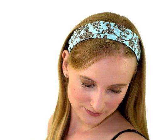 Skinny Headband, Hot Cocoa Flower Garden on Light Blue, Soft (Large Light Cocoa)