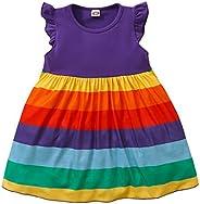 OPAWO Baby Girls Rainbow Dress Infant Toddler Princess Tutu Dresses Ruffle Sundress 6M-4 Years