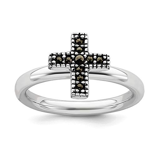 925 Sterling Silver Marcasite Cross Religious Band Ring Size 5.00 Stackable Gemstone Fine Jewelry Gifts For Women For - Marcasite Cross Mother Of Pearl