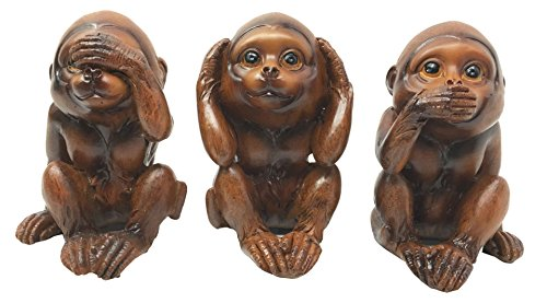 Gifts & Decors Faux Mahogany Wood Finish See Hear Speak No Evil Monkeys Three Wise Ape of Jungle Figurine Set of Three Collectible Sculptures