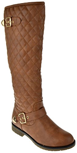 Dish 2 Leather Knee High Quilted Buckle Up Boots Tan
