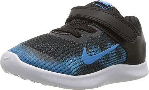 Nike Boy's Flex RN 2018 Toddler Shoe Black/Equator Blue/White Size 5 M US (Shoes Baby Nike Wide)