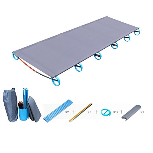 ONEGOL Camping Cots,Portable Outdoor Folding Bed, Aluminium Alloy Military Folding Cot Withstand 330lb for Travel, Base Camp, Hiking, Mountaineering with Storage Bag,for Adult or Kids