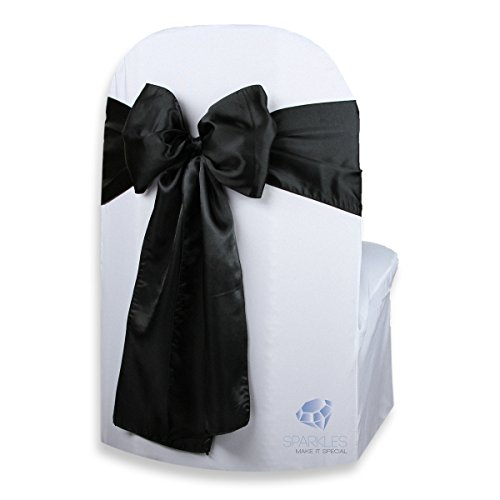 cial 50 pcs Satin Chair Cover Bow Sash - Black - Wedding Party Banquet Reception - 28 Colors Available ()