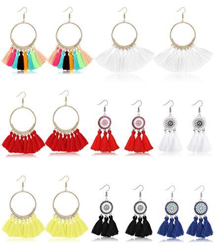 Finrezio 8 Pairs Colorful Tassel Earrings Handmade Bohemian Fan Shape Drop Earrings Hanging Fringe Dangle Earrings for Women - Fan Shape