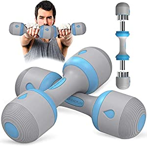 Well-Being-Matters 41549K-PpDL._SS300_ Adjustable Dumbbell Weight Set - 5-in-1 Dumbbell Set with Non-Slip Neoprene Handles - Multipurpose Weights Dumbbells Set…