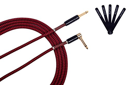 - Aurivor Guitar Instrument Cable 10 Feet Length 1/4 Inch TS Straight to Right Angle Gold Plated Connector Tweed Woven Nylon Jacket Color Red (10 FT)