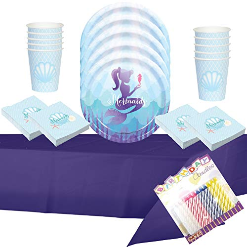 Mermaid Party Supplies Pack Serves 16: Dinner Plates Luncheon Napkins, Cups and Table Cover with Birthday Candles - (Bundle for 16) -