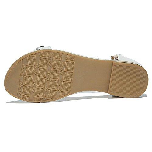 Chaussures Classique Sandales Blanc TAOFFEN De Femme Ouvert Mode Sangle Bout Filles Cheville Ecole 7Pwvq0