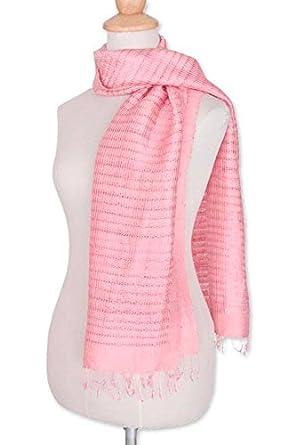 NOVICA Pink 100% Silk Scarf cbdb731c9d21
