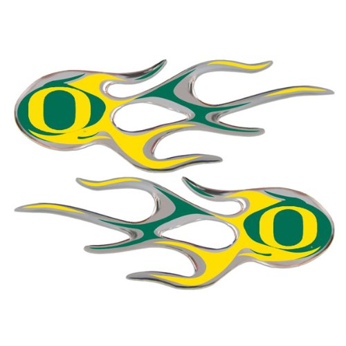 Oregon Ducks Micro Flames NCAA Auto Decal 2 Pack for Car Truck Motorcycle Bike Mailbox Locker Sticker College Licensed Team Logo ()