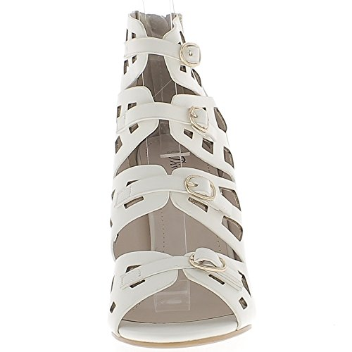 Escarpins ouverts blancs à talons de 10 cm brides avec boucles métal