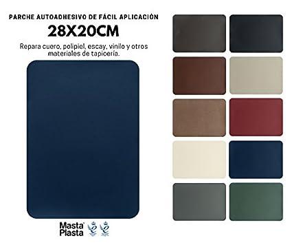 MastaPlasta Reparación Cuero, Polipiel y Skai - Parches Adhesivos Rectangulo XL (200x280mm) (Azul Marino)