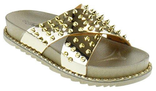 Forever Goth 03 Womens Comfort Studded Strappy Slide Platform Sandals Gold 8.5
