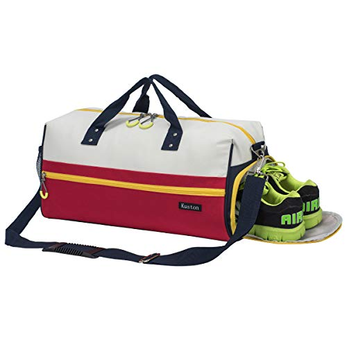 Kuston Sports Gym Bag with Shoes Compartment Travel Duffel Bag for Men and Women (White red)