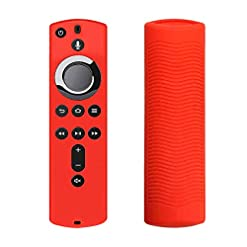 siwetg Protective Case 5.9 Inch Soft Silicone Cover Skin Sleeve Shockproof Replacement Anti-Slip for Amazon Fire TV Stick 4K Remote Control red