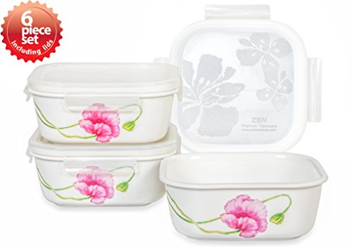 Lock & Lock Ceramic bowl Square Large 670ml / 22oz Sophie Pattern Oven, Microwave and Diswasher Safe 6piece set (Bowls Ceramic Safe Microwave)
