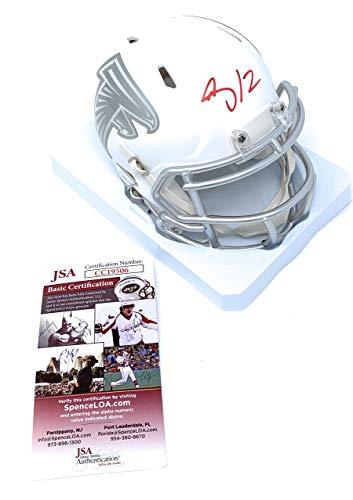Mohamed Sanu Atlanta Falcons Signed Autograph RARE ICE Speed Mini Helmet JSA Certified