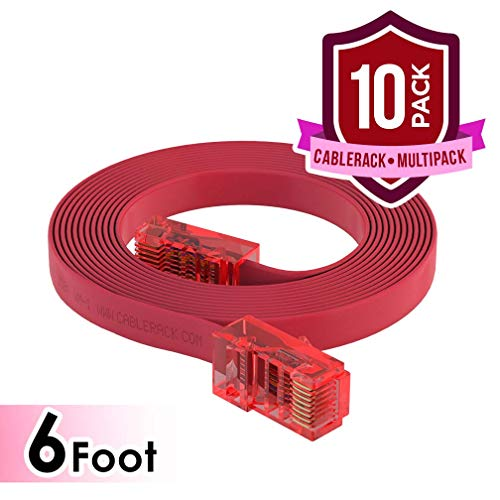 CableRack 6ft Rollover Console Cable RJ45 to RJ45 Male for Cisco 72-3383-01 Red (10-Pack)