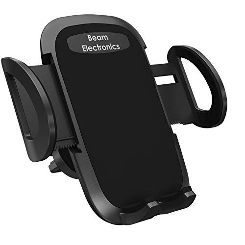 Beam Electronics Universal Smartphone Car Air Vent Mount Holder Cradle Compatible with iPhone Xs XS Max XR X 8 8+ 7 7+ SE 6s 6+ 6 5s 4 Samsung Galaxy S10 S9 S8 S7 S6 S5 S4 LG Nexus Sony Nokia (Black) ()
