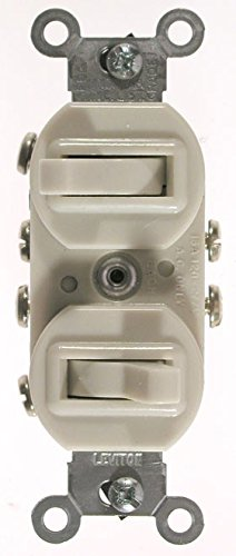 Leviton 5243-W Duplex Toggle Switch With Grounding Screw, 120/277 Vac, 15 A, 1 P White