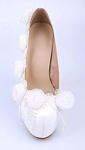 Stiletto White Flowers Patent Women's Leather Wedding TDA Pumps Bridal Beautiful Dress qZ8wUURv