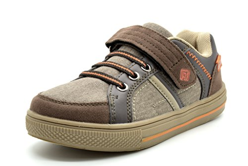Dream Pairs Boy's Casual Velcro Strap Casual Shoes Sneakers Loafers, 151014-BROWN-ORANGE, 7 M US Toddler