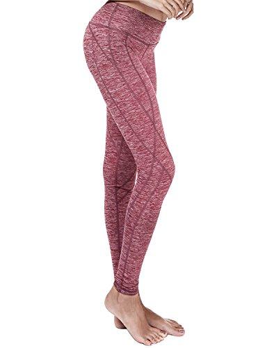 Yoga Reflex - Active Yoga Leggings Pants for Women - Hidden Pocket, RED, 2XL
