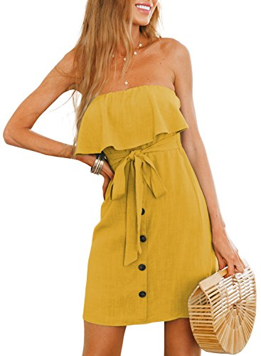 Solid Color Women Dresses - STKAT Women's Sleeveless Off Shoulder Solid Color Ruffle Button Down A Line Beach Short Dress