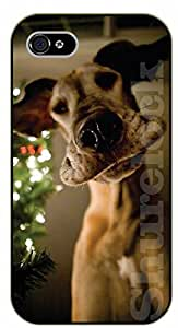 iPhone 4S Christmas dog face - black plastic case / dog, animals, dogs
