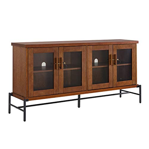 Sideboard Buffet with Glass Doors - Credenza Storage Cabinet - Metal & Wood Construction