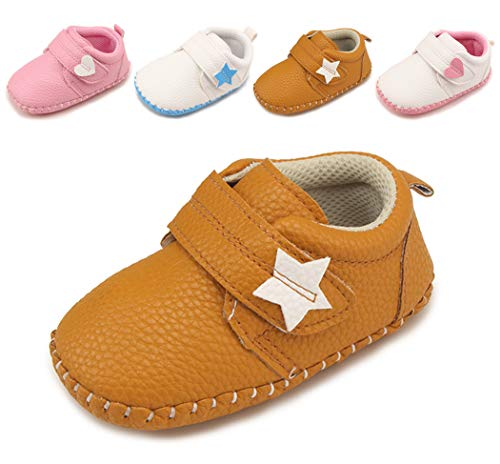 - Cindear Newborn Baby Boys Girls Shoes Infant Soft Anti-Slip Sole Synthetic Leather Crib Shoes Flats Five-Pointed Star Velcro Brown 12-18 Months