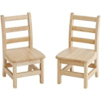 ECR4Kids Hardwood 3-Rung Ladderback Chair, Natural (2-Pack)