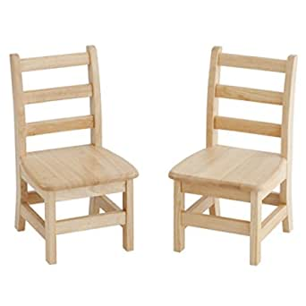 "ECR4Kids 12"" Hardwood 3-Rung Ladderback Chair, Natural (2-Pack)"