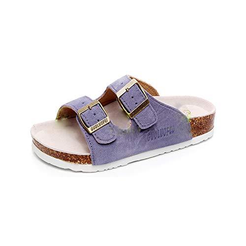 Women's Sandal Cork Sandals Slide Flat Strap Buckle Girl Leather Footbed Adjustable Casual Double Toe Shoes Summer Open Platform Suede Slides Purple(9.5 US Men/10.5 US Women,26.5 cm Heel to Toe