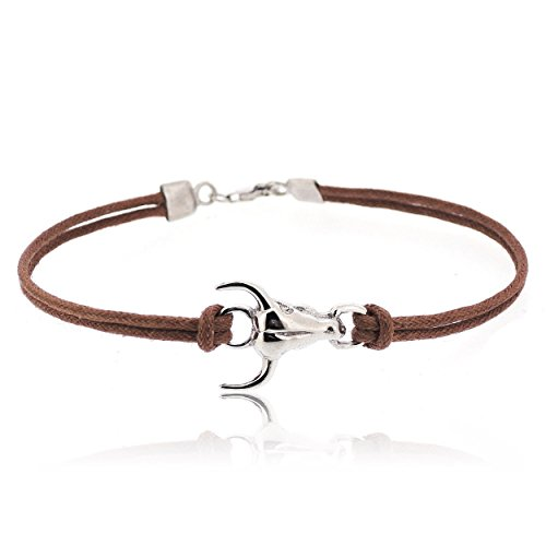 SOVATS Ox 925 Sterling Silver Rhodium Plated Charms With Brown Cord Bracelet For Men - Simple, Stylish &Trendy Nickel Free Bracelet, Size 9.5