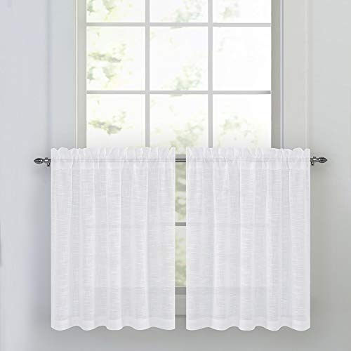 NICETOWN Linen Textured Translucent Sheer Tiers - White Half Window Valances Semitransparent Voile Panel Drapes for Kitchen/Cafe, 52 inches Wide x 36 inches Long, Sold by 2 Pieces (Lace Cafe French Curtains)