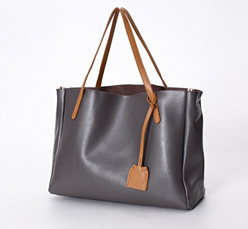 Leather 2 Pouch 1 Poet Bag La Bucket in Genuine Grey Women's Tote With Grey Removable A7xIYYqwt